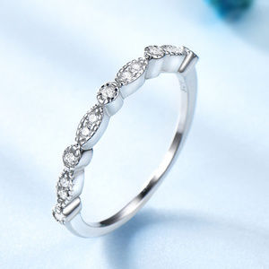 Art Deco Wedding Band 925 Sterling Silver CZ Ring